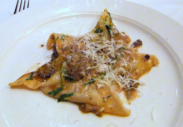 Beef Cheek Ravioli with Crushed Squab Liver and Black Truffles