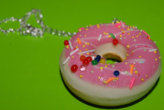 Pink Iced Doughnut Necklace (Jo Tulley) Tags: pink food shop fun yummy ebay candy sweet eat sprinkles doughnut icing pretend kidish