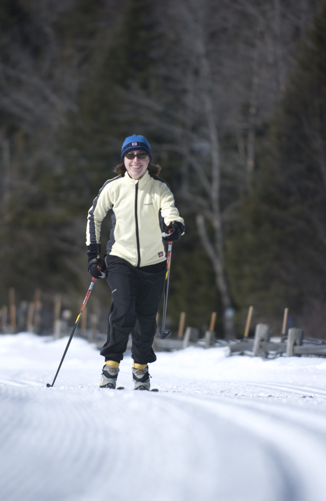 Skier out on trails