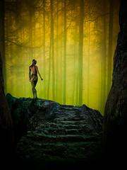 Breathing. (Mr Bultitude) Tags: trees light woman art fog forest photoshop naked living poser rocks mr cloudy body steps dream free neil manipulation fantasy bliss breathing dreamscape dreamcatcher carey lightroom bultitude