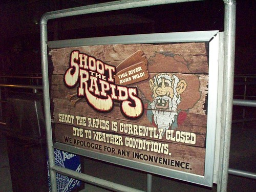 Cedar Point - Shoot the Rapids Closed Due To Weather Sign