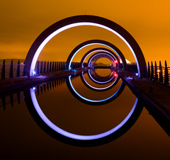 That shot of the Falkirk Wheel (Semi-detached) Tags: new light sky orange wheel architecture night scotland canal nikon long exposure glow shot streetlamp scottish structure lamps 1770 iconic falkirk semidetached d300