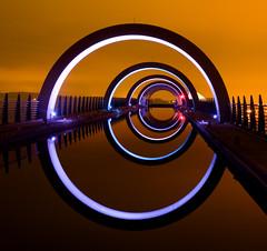 That shot of the Falkirk Wheel (Semi-detached) Tags: new light sky orange wheel architecture night scotland canal nikon long exposure glow shot streetlamp scottish structure lamps 1770 iconic falkirk semidetached d300