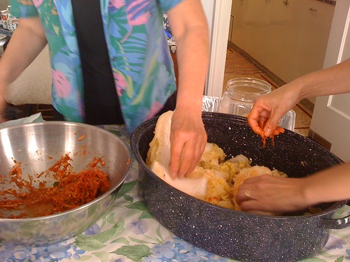 Assembling the kimchi