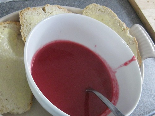 Beetroot and apple soup with soda bread