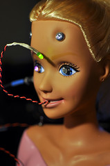 Circuit Bent Barbie - Finished! (KatieMaeDickinson) Tags: light screw screws wire bend head sensitive touch barbie cable led bolt bolts bent terminator talking circuit sensor bending