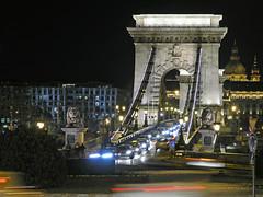 Budapest - Chain Bridge traffic (Romeodesign) Tags: bridge adam cars night reflections square lights hungary traffic budapest chain lions danube buda pest lnchd szchenyi clarck gettyhungary1