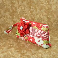 Bliss Wristlet with Fabric Flower (pbtajr) Tags: handmade sewing moda fabric bliss wristlet zipperbag fabricflower blissfabric