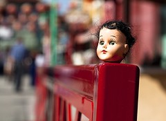props in Chinatown (Andy Kennelly) Tags: red bench hair la three los crazy eyes colorful doll chinatown dof angeles creepy plastic heads traveling