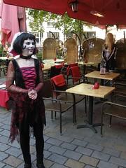 Braaains, only 5 a glass (JimInEuropa) Tags: berlin bar restaurant exterior market sale zombie waitress publicity
