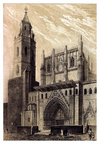 003-Frontis de la catedral de Huesca 1844-Recuerdos y bellezas de España Vol 1-Aragon