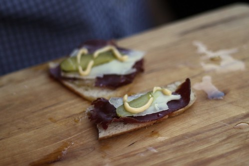 bresaola with goat's cheese & cornichons on sourdough