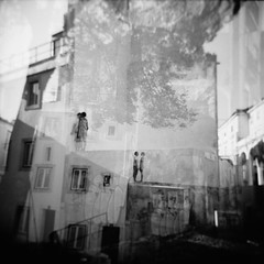 we were standing... (...storrao...) Tags: street blackandwhite bw woman house man muro abandoned 6x6 film portugal wall mediumformat teatro casa holga lisboa lisbon mulher nb bn multiple rua filme np homem ilford fp4 juntos streetplay exposures holgagraphy representing onfilm teatroderua encenao autaut experimentaltheater teatroexperimental storrao sofiatorro