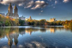 Central Park Lake at Sunset (calvorn) Tags: park newyorkcity sunset urban lake newyork landscape manhattan central hdr highdynamicrange hdri