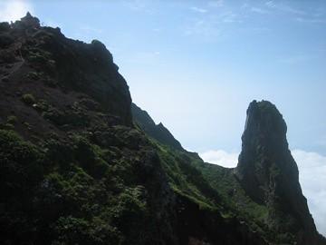 北峰(左端)とローソク岩