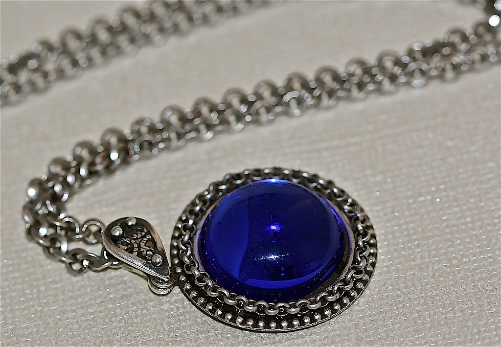 Blue Glass Antiqued Silver Necklace