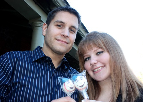 The Bride and Groom with their cake pops