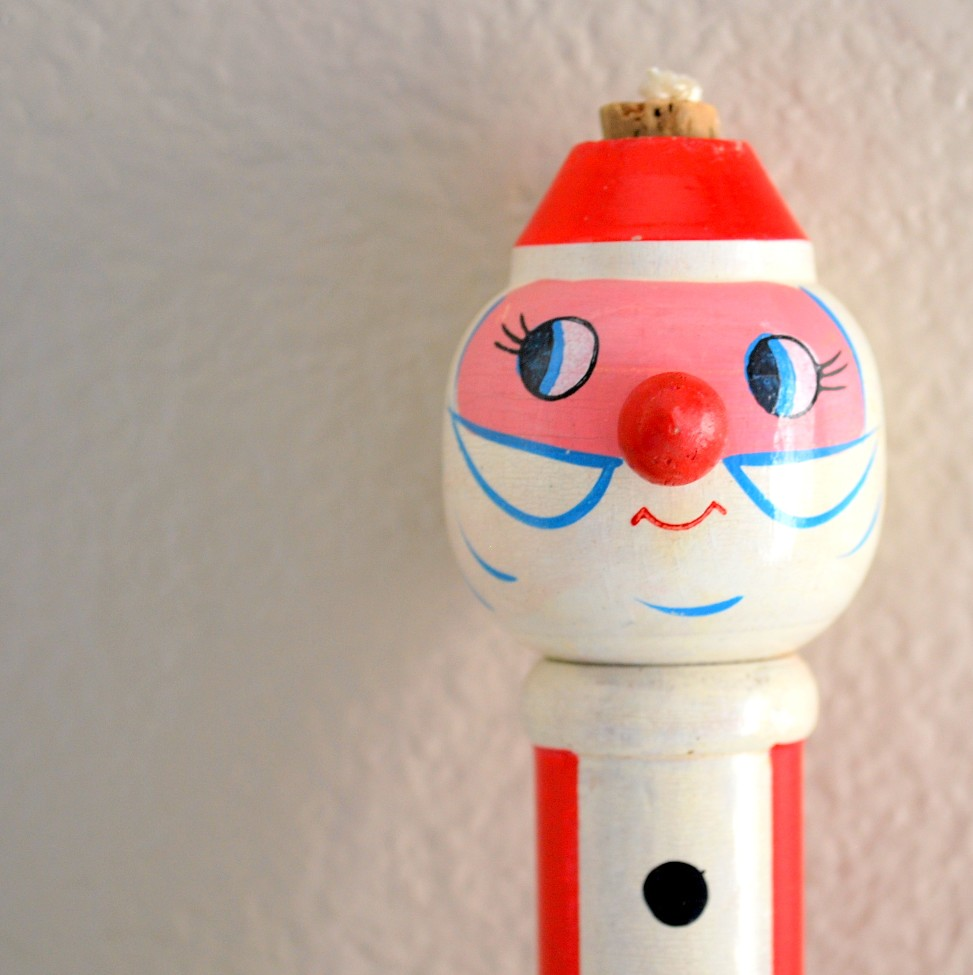 Vintage Wood Santa Toy - Made in Japan
