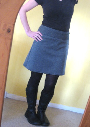 grey skirt shorter
