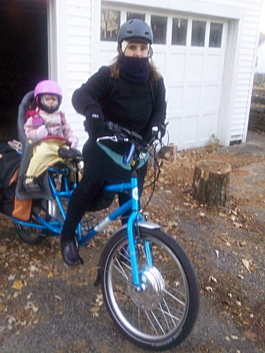 winter bike commuting mom