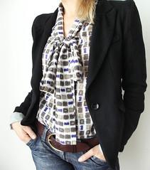 "Pussybow Blouse ""Mosaic Liberty"" (isabelamyo) Tags: woman france fashion shirt handmade mosaic sew blouse etsy longsleeve pussybow agteam teamfrench isabelamyo"