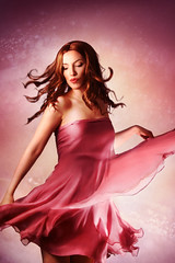 Spring Feeling I (ilina s) Tags: pink portrait woman girl smiling stars happy dress purple dancing longhair twirl