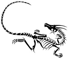 FOSSIL (Black Crown . tribal) Tags: white black art fossil skull design dragon arte tribal esqueleto tatoo ilustration
