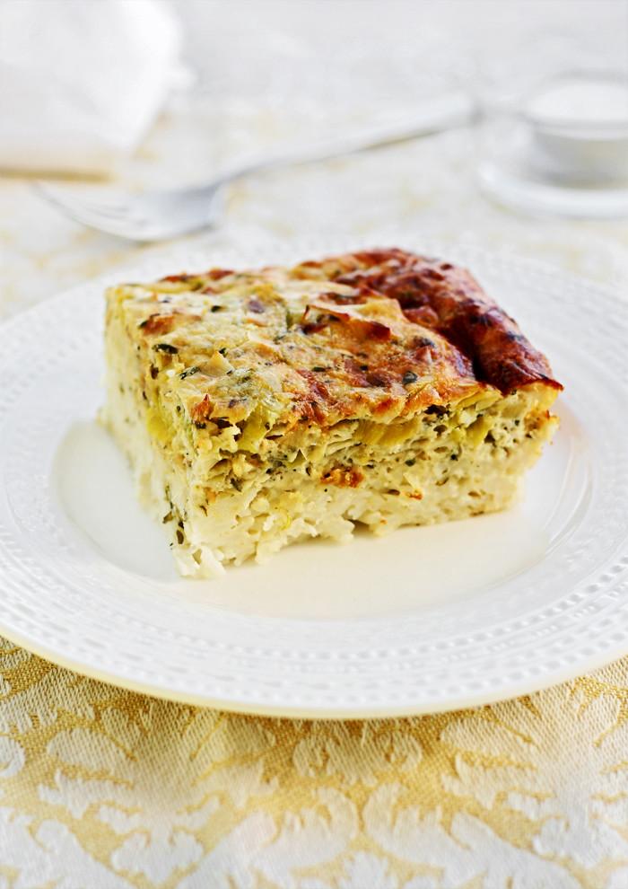pastel de arroz y puerro