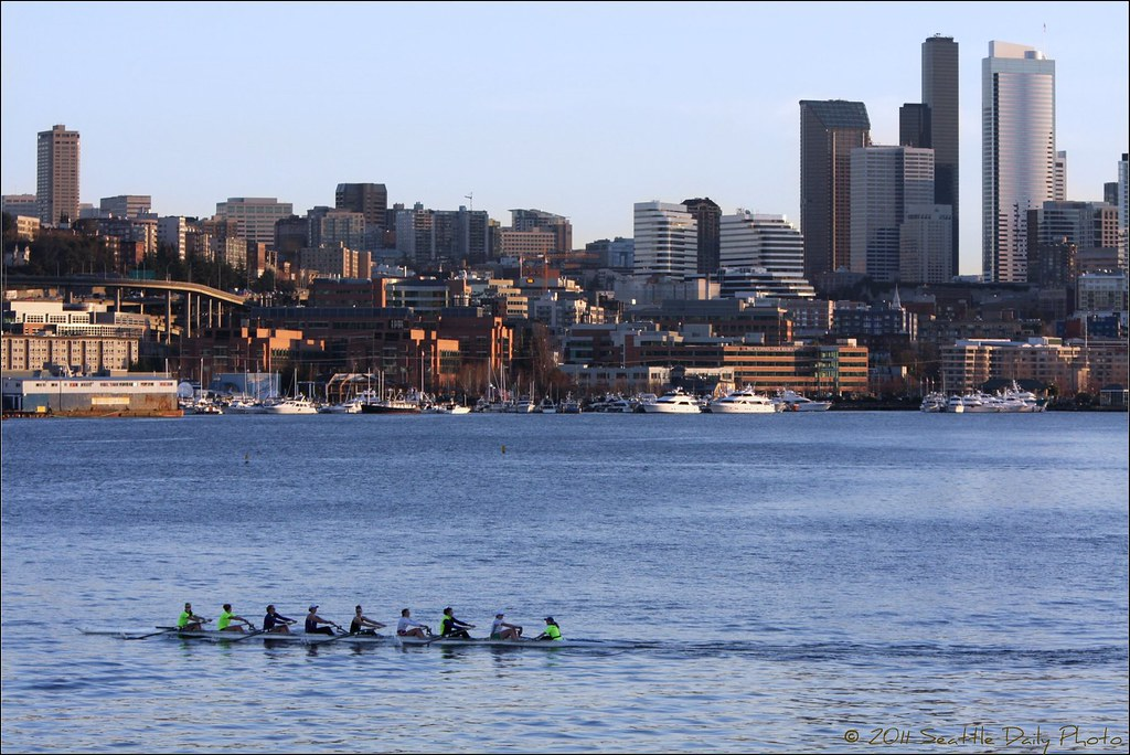 UW Rowers on Lake Union
