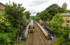 220-  Saltaire - Train leaving Railway Station (1 of 1) (md2399photos) Tags: 2jun17 almshouses davidhockney robertspark saltaire saltaireunitedreformedchurch saltsmill victoriahall
