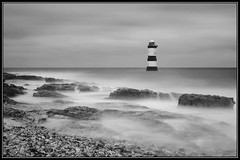 Black Point lighthouse, Anglesey (kev7d2) Tags: nd tenstop timeexposure anglesey blackpoint ligthouse sea waves water sprey wet bw tripod beach wales