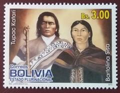 "stamp ""Tupac Katari & Bartolina Sisa"" (Bolivia 2012) (Sasha India) Tags: bolivia stamps philately sellos briefmarken"