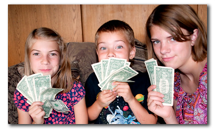 kids rolling in money photo
