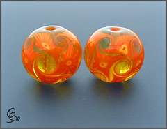 Zesty Mosaic Pair - Lampwork Glass Beads (Photography by Clare Scott) Tags: glass set scott beads clare lampwork sra focal fhfteam