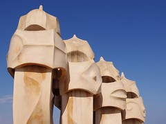Gaudi's Gaf in Barcelona (Photoblog.ie (Patrick Dinneen)) Tags: barcelona travel blue roof chimney sky building art heritage yellow delete10 museum architecture delete9 delete5 delete2 design la spain pentax delete6 delete7 delete8 delete3 delete delete4 save unesco gaudi catalunya w2 quarry catalan casemila pedrera casamil worldheritage kx antonigaudi antonigaud caixacatalunya peremil 18150mm rosariosegimon peremila deletedbydeletemeuncensored