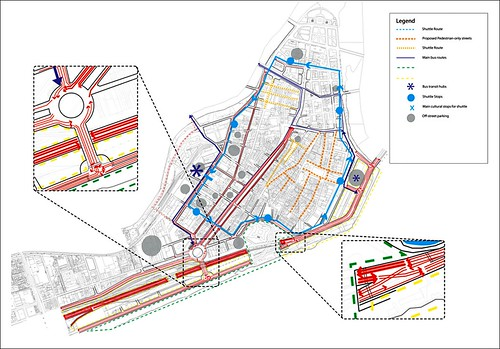 proposed transit routes, pedestrian streets, and circulation patterns (by: UC-DAAP)