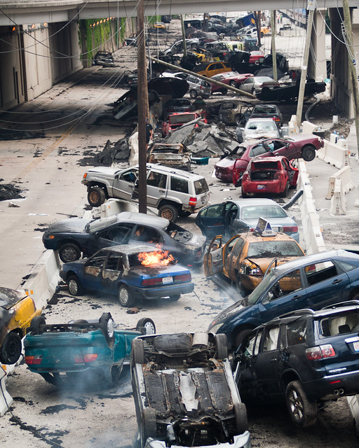 destroyed cars Chicago Transformers 3