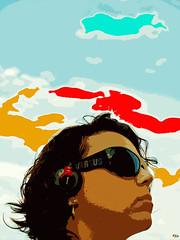 Mi prima escucha sus canciones favoritas. (elojeador) Tags: color mujer retrato cara cielo sj gafas prim cascos miprima elojeador lobitaenpieldecorderita heatfield