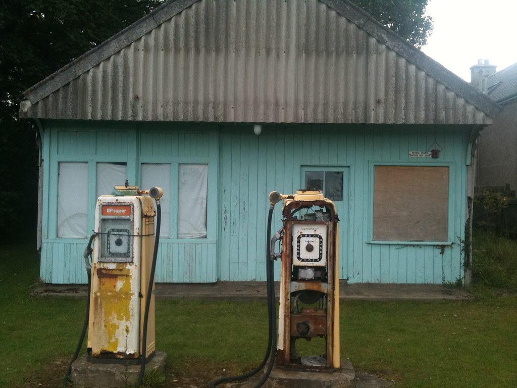 Old petrol station in Brora