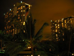 Rainbow Tower at night (climate_dude) Tags: night hawaii waikiki oahu palmtree honolulu lanai hiltonhawaiianvillage rainbowtower