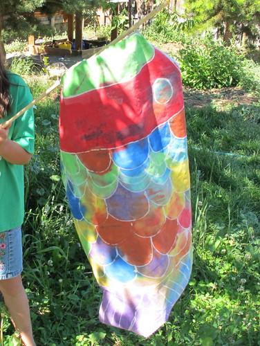 The finished batik fish flag