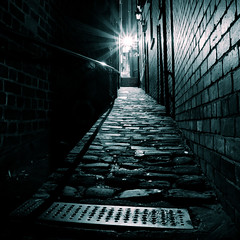 Down the Narrow Alleys of Whitby (Vaidas M) Tags: uk longexposure nightphotography monochrome alley whitby squarecrop northyorkshire splittoning nikond90 tamron1750mmf28xrdiii