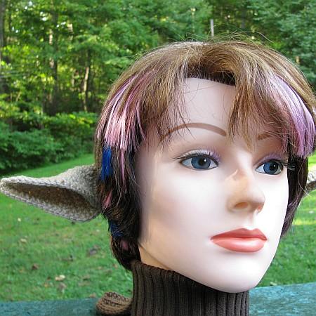 Crocheted Faun or Centaur Costume Ears on a Brown Headband