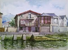 Casas en la Ria de Bilbao (P.Barahona) Tags: bilbao urbano acuarela rotulador boli