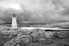 Storm's a Brewin' (Doug Stocks) Tags: red lighthouse white green clouds novascotia postoffice boulder peggyscove personpeople