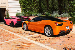 What a lifestyle! (Alex Penfold) Tags: pink orange black cars alex sports car canon photography eos photo crazy cool italian italia bright image duo awesome 4 uae picture fast super ferrari monaco exotic photograph arab lp carlo monte rrr lamborghini supercar sv numberplate exotica 2010 supercars combo   murcielago 670 lambo penfold veloce   458       450d     hpyer  lp6704 lp670