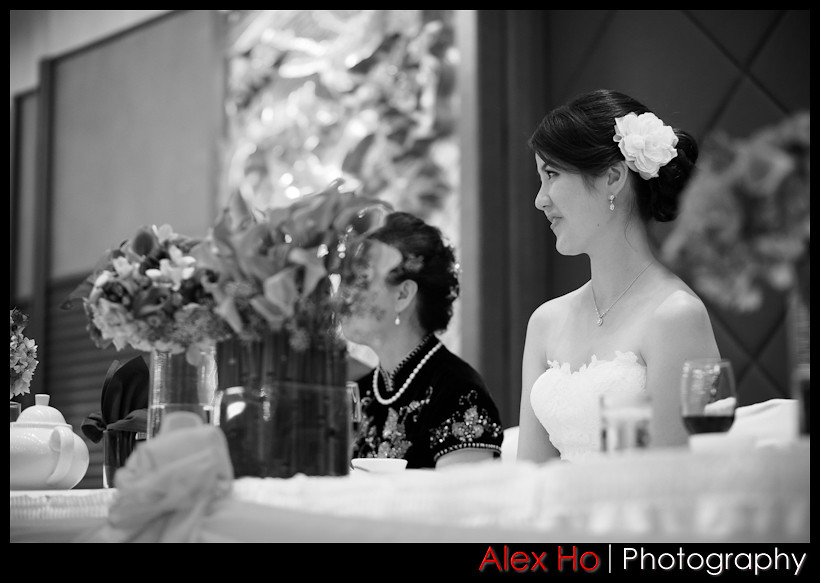 bride listening to the speeches