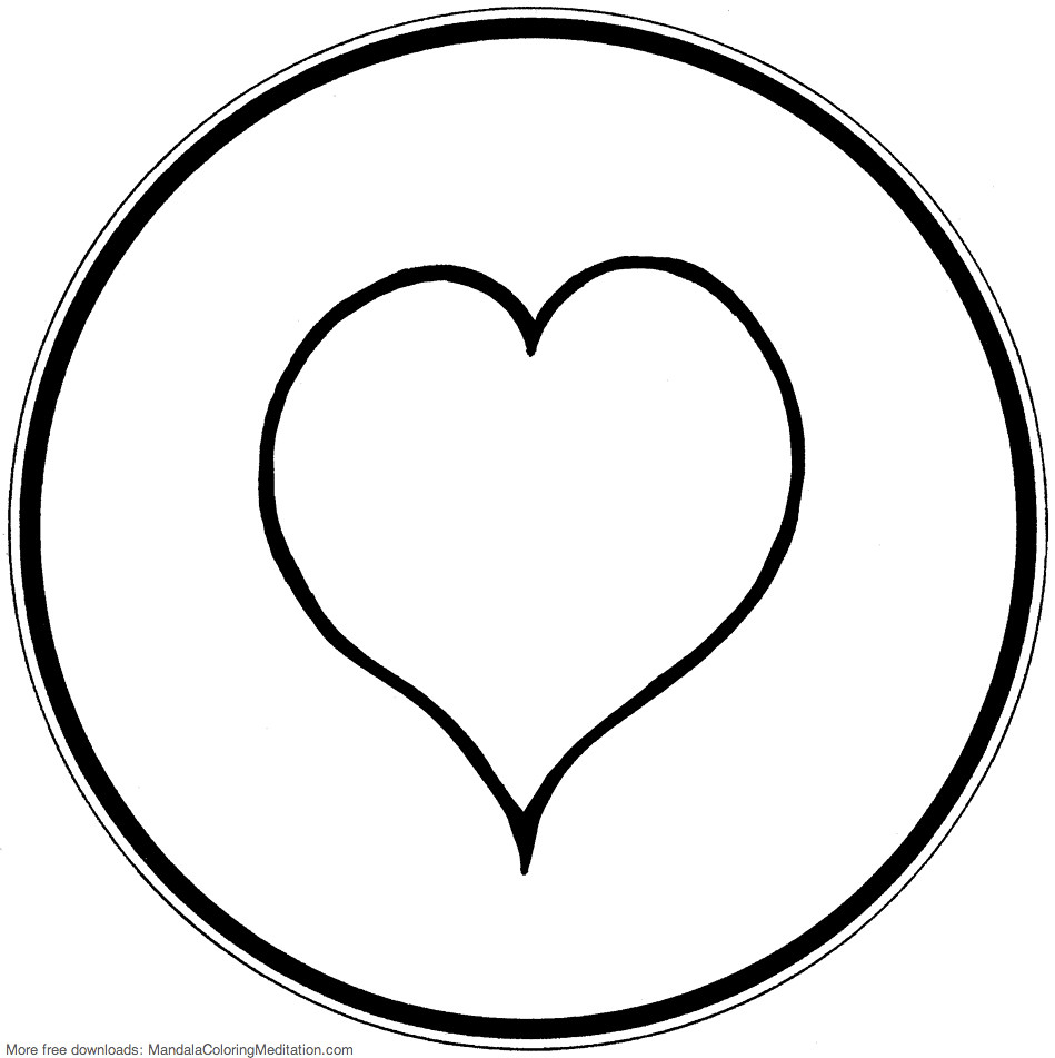 Printable Children Coloring Page Heart Mandala 1 Pages Tags