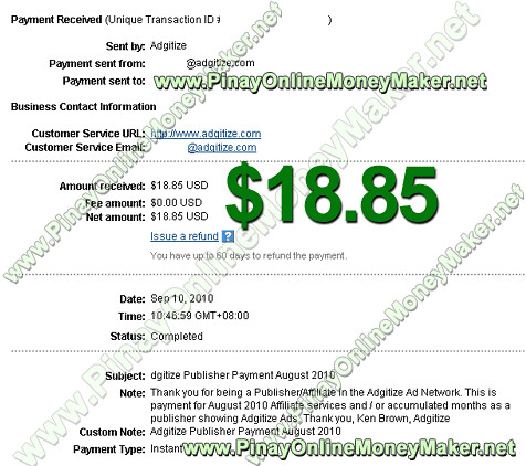 Adgitize Payment Proof $18.85 on September 10, 2010 - PinayOnlineMoneyMaker.net