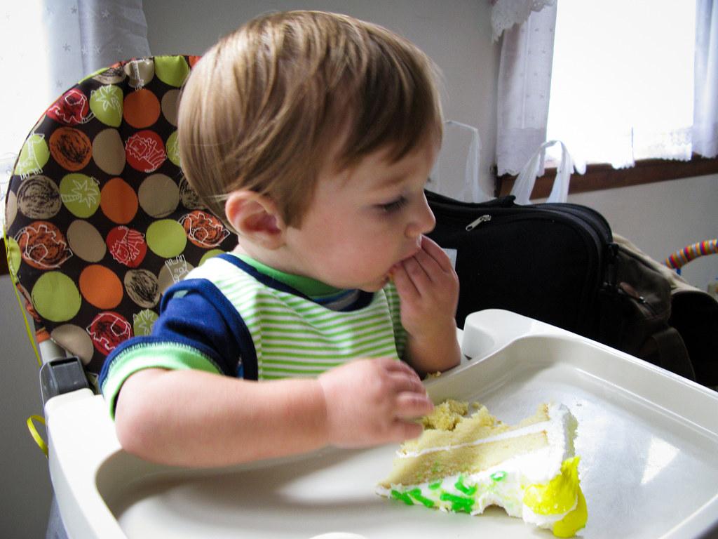 Sawyer eating birthday cake